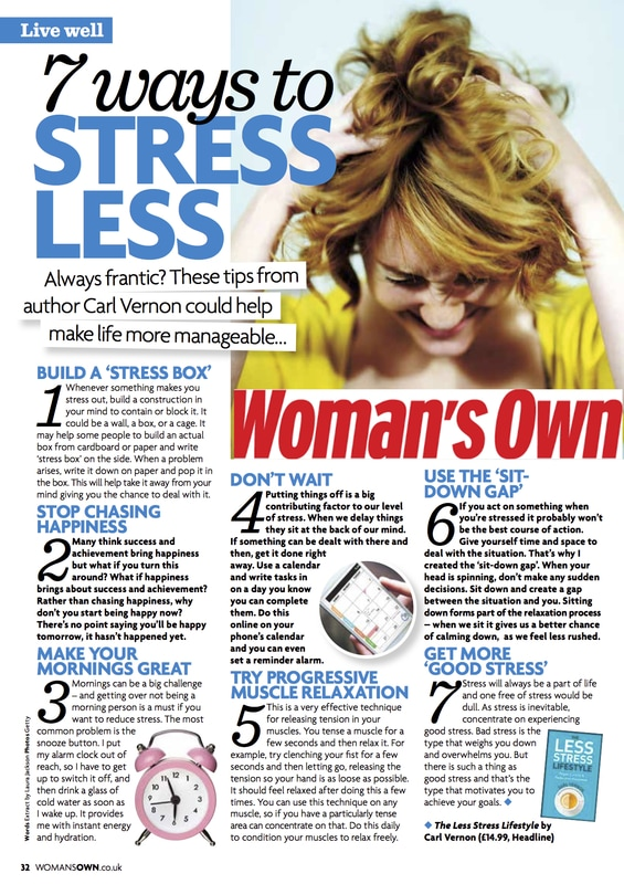 7 ways to stress less - The Less-Stress Lifestyle featured in Woman's Own - Carl Vernon